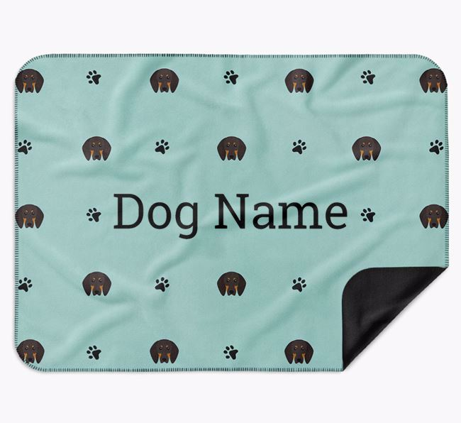 Personalised Blanket with Black and Tan Coonhound Icon Print