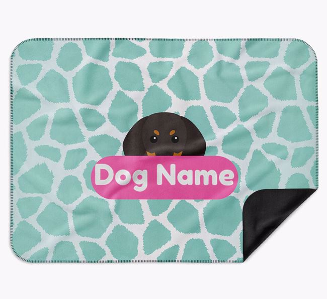 Personalised Giraffe Print Blanket with Black and Tan Coonhound Icon