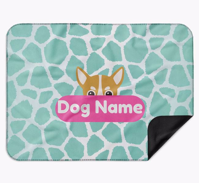 Personalised Giraffe Print Blanket with Chihuahua Icon