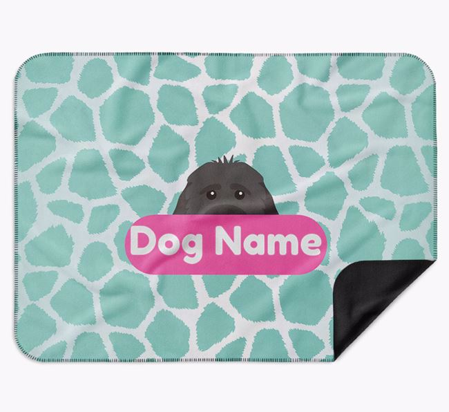 Personalised Giraffe Print Blanket with Cockapoo Icon