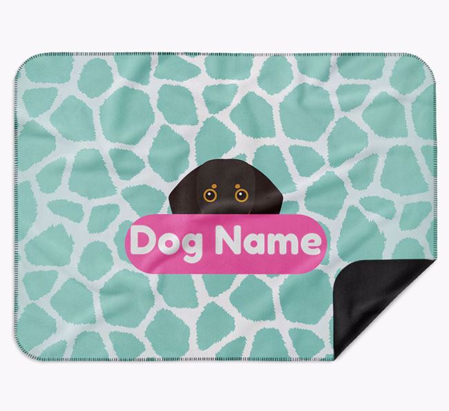 Personalised Giraffe Print Blanket with Dog Icon