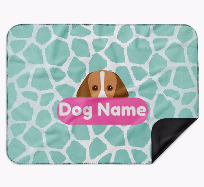 Personalised Giraffe Print Blanket with Foxhound Icon