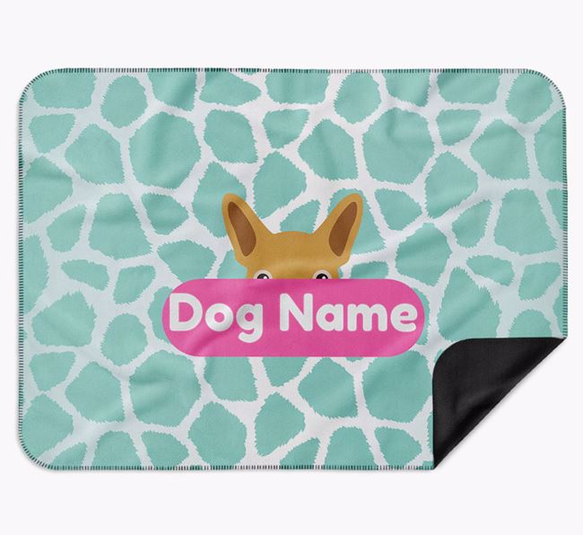 Personalised Giraffe Print Blanket with French Bulldog Icon