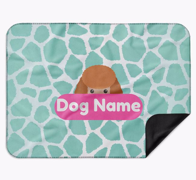 Personalised Giraffe Print Blanket with Miniature Poodle Icon