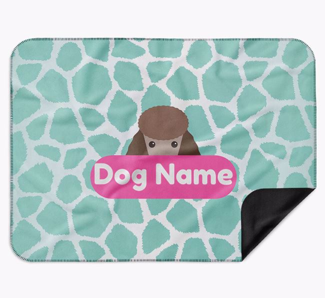 Personalised Giraffe Print Blanket with Poodle Icon