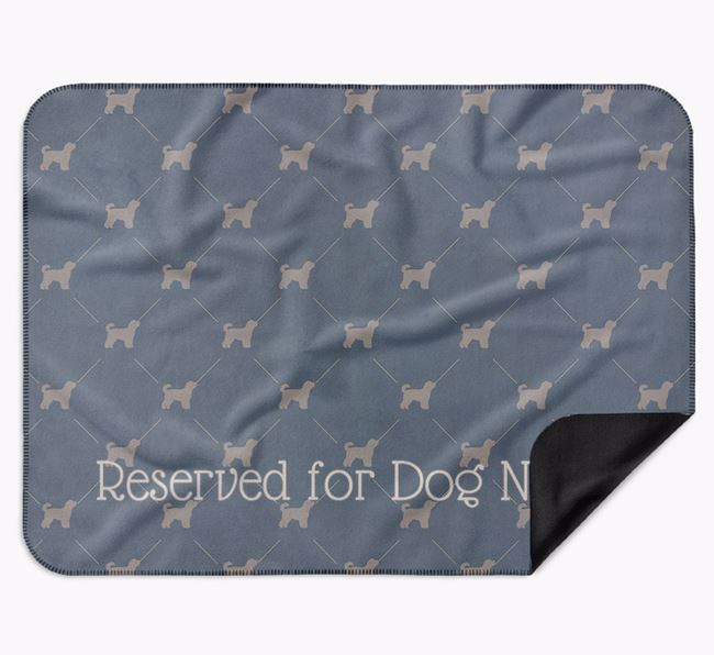 Personalised 'Reserved For' Blanket with Cavapoochon Silhouette Print