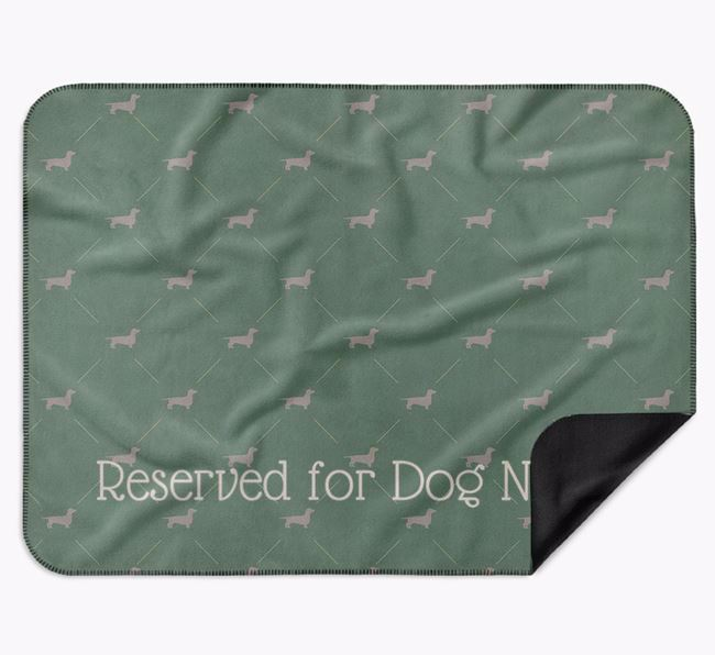 Personalised 'Reserved For' Blanket with Dachshund Silhouette Print