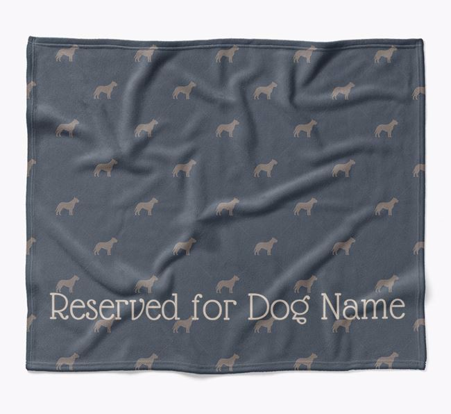 Personalised 'Reserved For' Blanket with American Pit Bull Terrier Silhouette Print