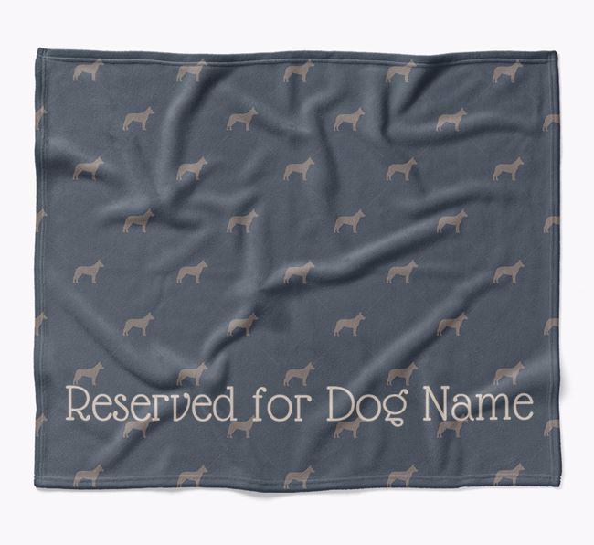 Personalised 'Reserved For' Blanket with Australian Cattle Dog Silhouette Print