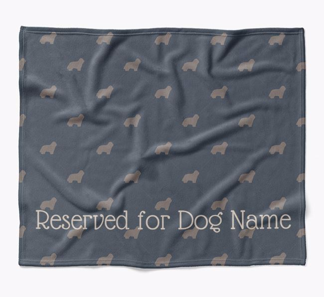 Personalised 'Reserved For' Blanket with Bearded Collie Silhouette Print