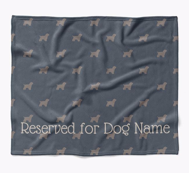 Personalised 'Reserved For' Blanket with Bich-poo Silhouette Print