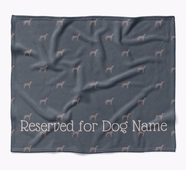 Personalised 'Reserved For' Blanket with Blue Lacy Silhouette Print
