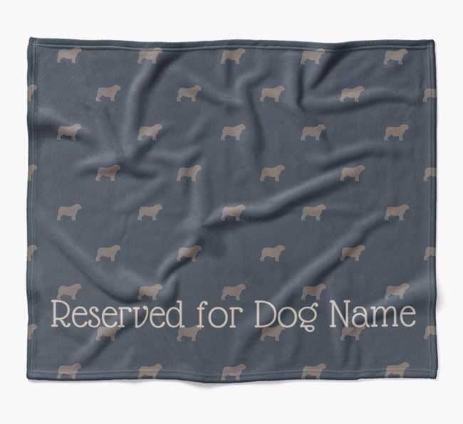Personalised 'Reserved For' Blanket with Bull Pei Silhouette Print