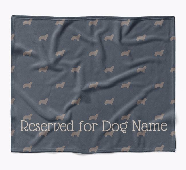 Personalised 'Reserved For' Blanket with Cavalier King Charles Spaniel Silhouette Print