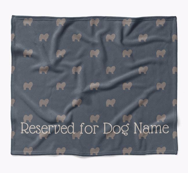Personalised 'Reserved For' Blanket with Chow Chow Silhouette Print