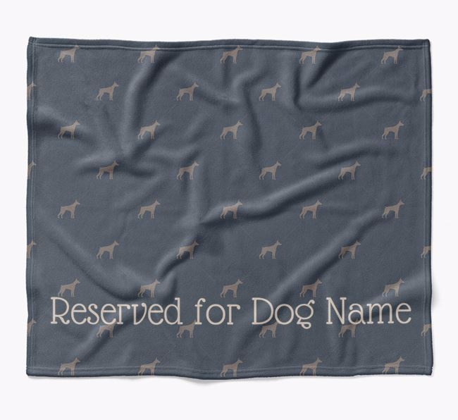 Personalised 'Reserved For' Blanket with Dobermann Silhouette Print