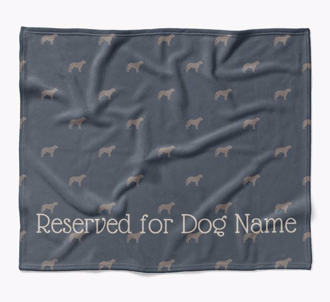 Personalised 'Reserved For' Blanket with Dogue de Bordeaux Silhouette Print