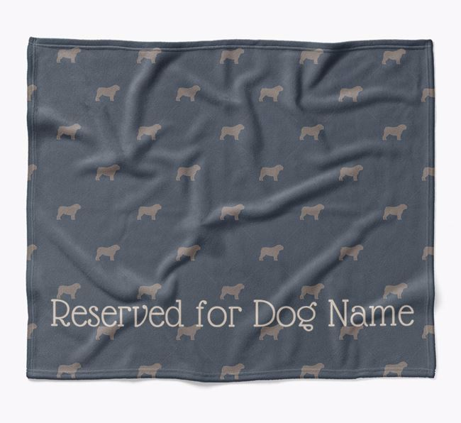Personalised 'Reserved For' Blanket with English Bulldog Silhouette Print