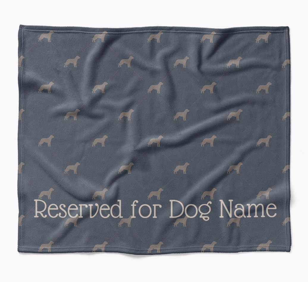 Personalized 'Reserved For' Blanket with Entlebucher Mountain Dog Silhouette Print in {colour} flat