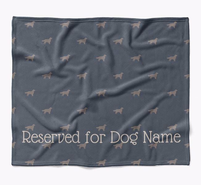 Personalised 'Reserved For' Blanket with Flat-Coated Retriever Silhouette Print