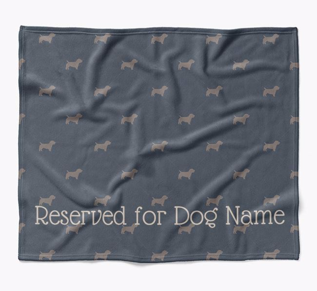 Personalised 'Reserved For' Blanket with Glen Of Imaal Terrier Silhouette Print