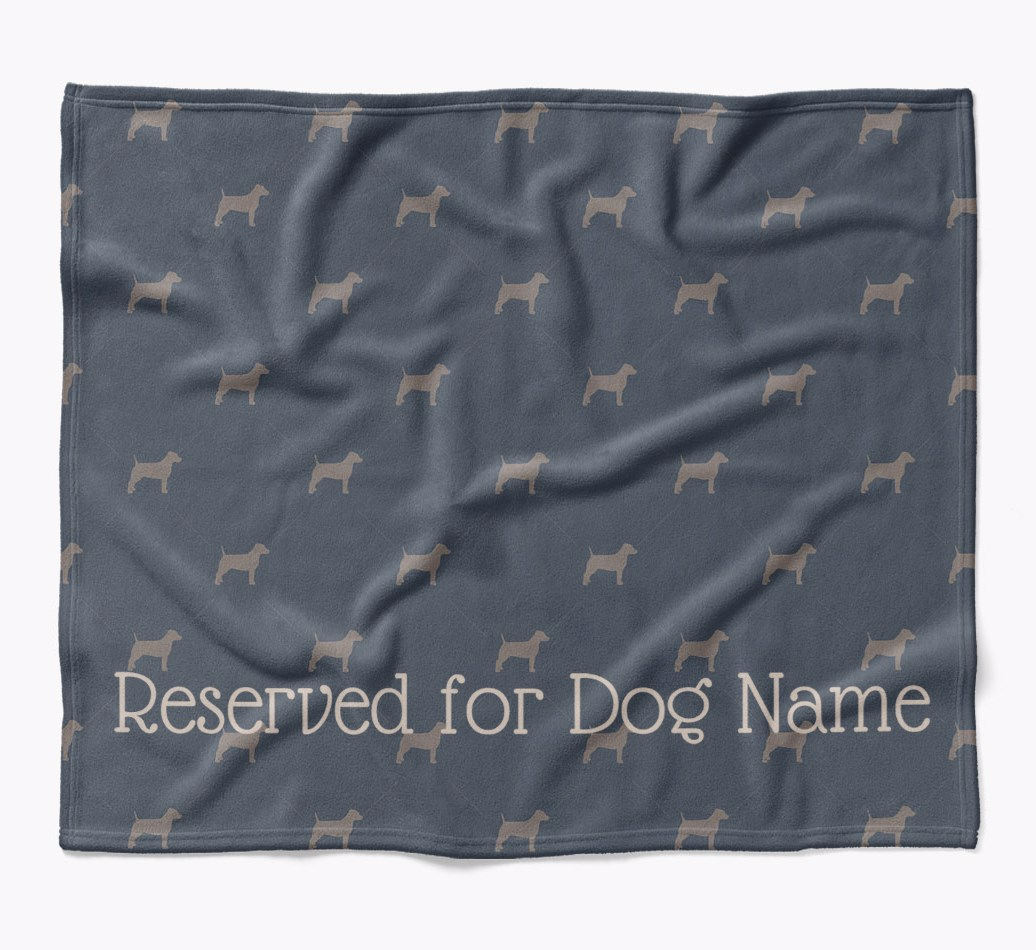 Personalized 'Reserved For' Blanket with Dog Silhouette Print in {colour} flat