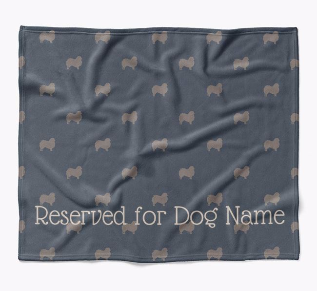 Personalised 'Reserved For' Blanket with Japanese Chin Silhouette Print
