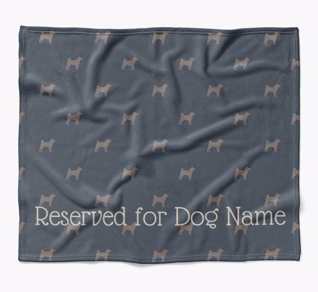 Personalised 'Reserved For' Blanket with Japanese Shiba Silhouette Print