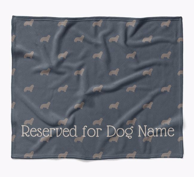Personalised 'Reserved For' Blanket with King Charles Spaniel Silhouette Print