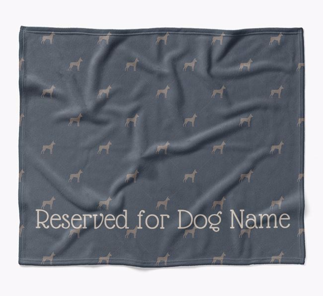 Personalised 'Reserved For' Blanket with Miniature Pinscher Silhouette Print