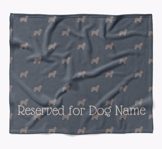 Personalised 'Reserved For' Blanket with Old English Sheepdog Silhouette Print