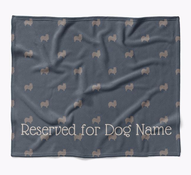 Personalised 'Reserved For' Blanket with Papillon Silhouette Print