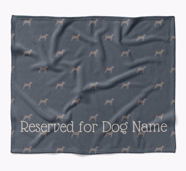 Personalised 'Reserved For' Blanket with Patterdale Terrier Silhouette Print