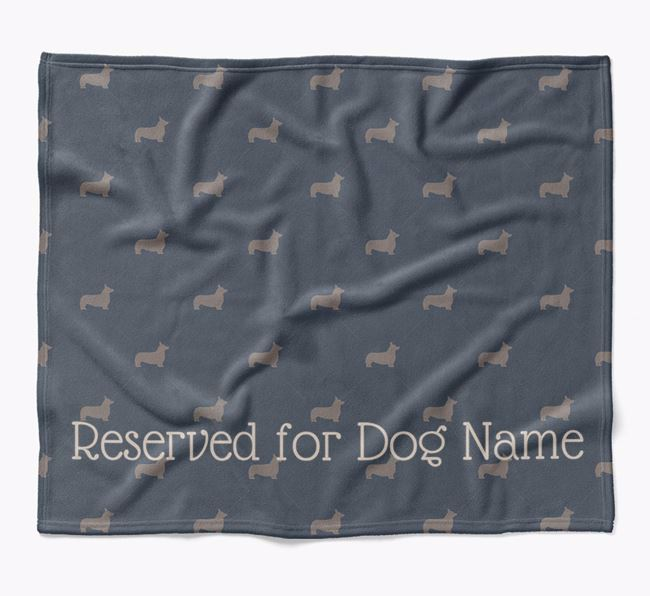 Personalised 'Reserved For' Blanket with Pembroke Welsh Corgi Silhouette Print