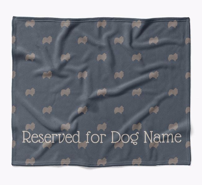 Personalised 'Reserved For' Blanket with Pomeranian Silhouette Print