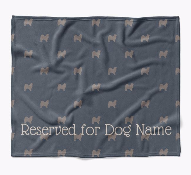 Personalised 'Reserved For' Blanket with Samoyed Silhouette Print