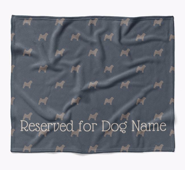 Personalised 'Reserved For' Blanket with Shar Pei Silhouette Print