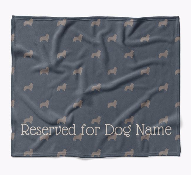 Personalised 'Reserved For' Blanket with Shetland Sheepdog Silhouette Print