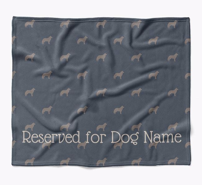Personalised 'Reserved For' Blanket with Siberian Husky Silhouette Print