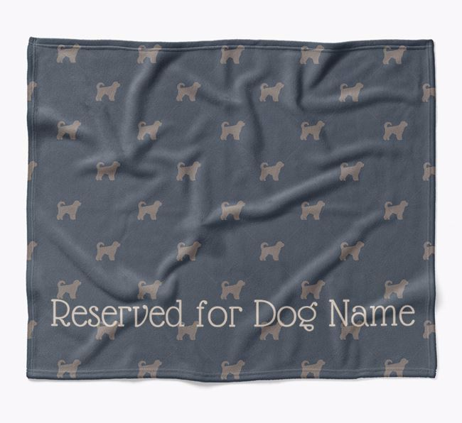 Personalised 'Reserved For' Blanket with Spanish Water Dog Silhouette Print