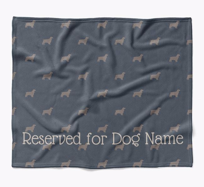 Personalised 'Reserved For' Blanket with Springer Spaniel Silhouette Print