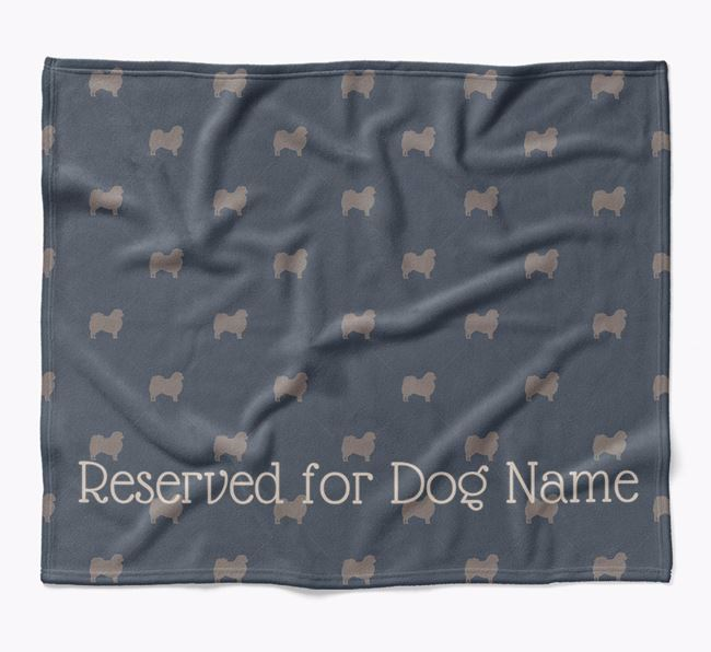 Personalised 'Reserved For' Blanket with Tibetan Spaniel Silhouette Print