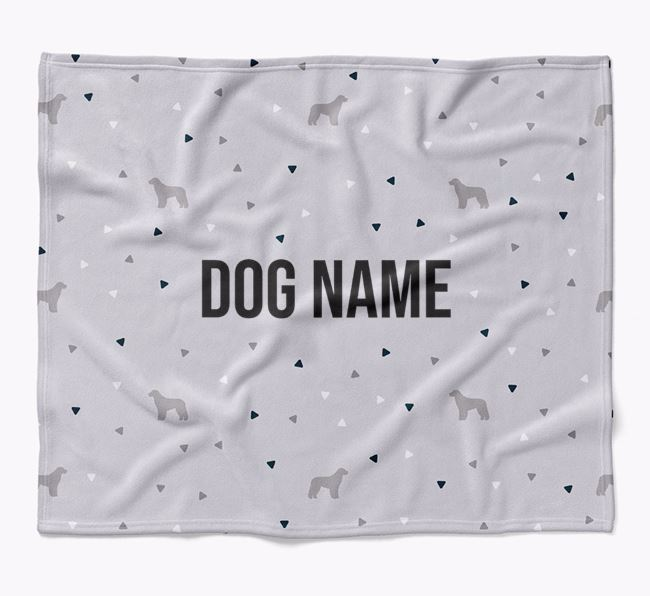 Personalized Triangle Pattern Blanket with Aussiedoodle Silhouettes