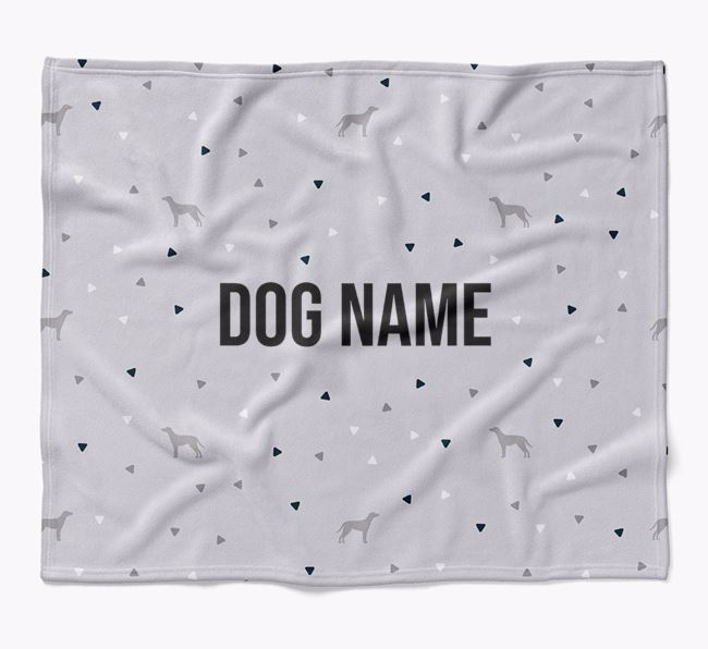 Personalized Triangle Pattern Blanket with Blue Lacy Silhouettes