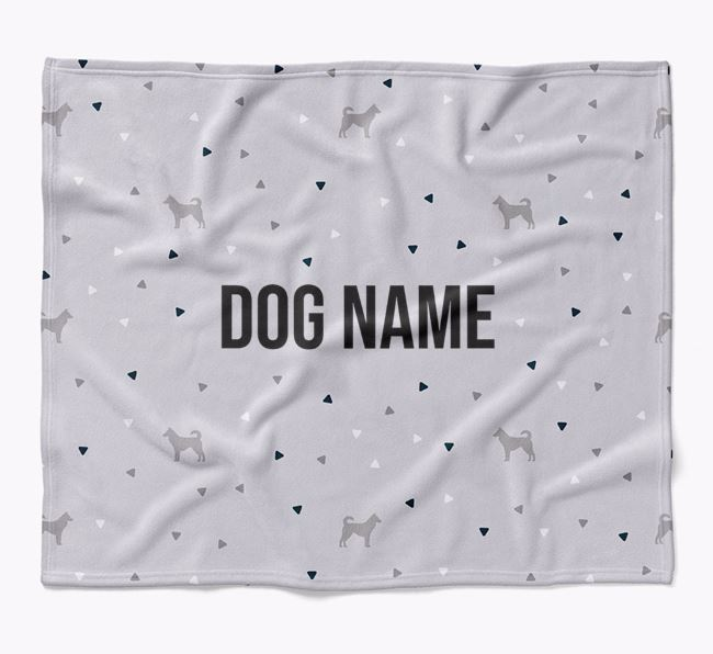 Personalized Triangle Pattern Blanket with Canaan Dog Silhouettes