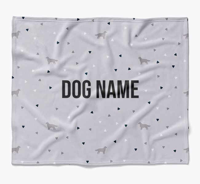 Personalized Triangle Pattern Blanket with Flat-Coated Retriever Silhouettes