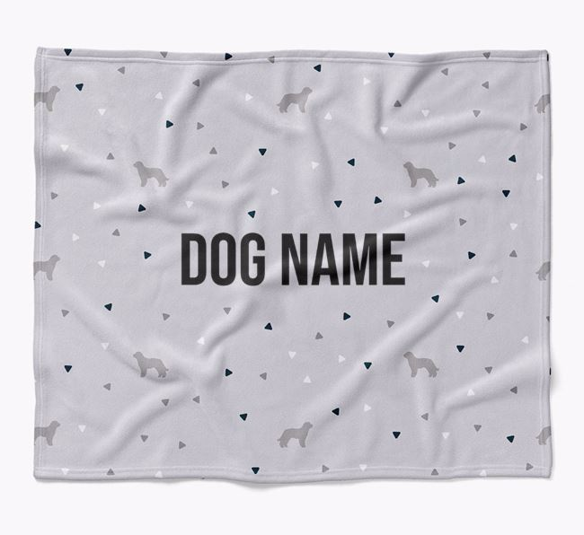 Personalized Triangle Pattern Blanket with Labradoodle Silhouettes