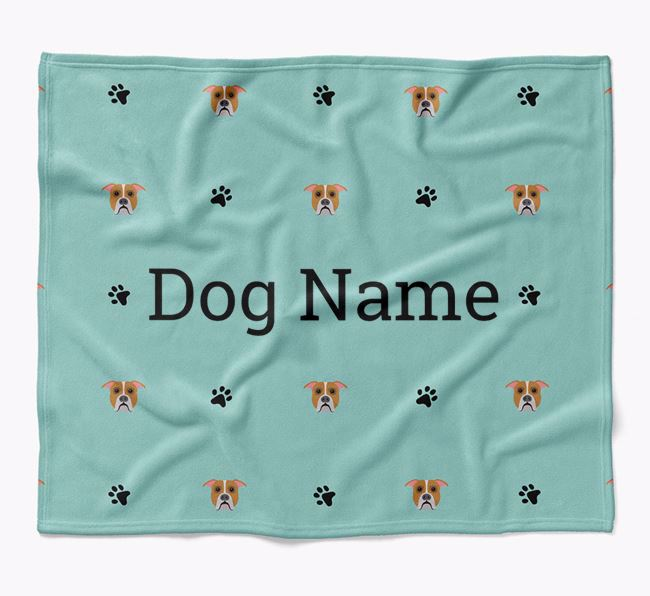 Personalized Blanket with American Bulldog Icon Print