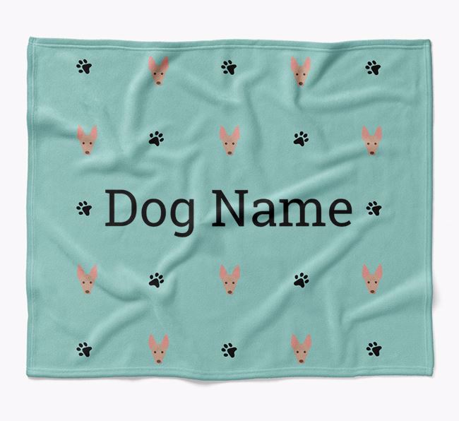 Personalized Blanket with American Hairless Terrier Icon Print