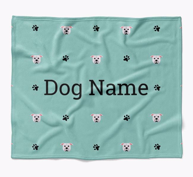 Personalized Blanket with American Pit Bull Terrier Icon Print